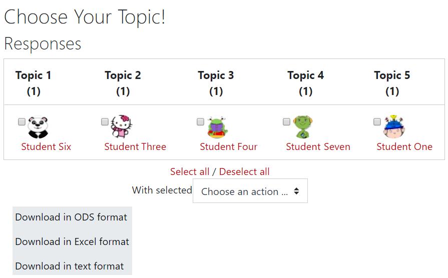 Screenshot of group choice results