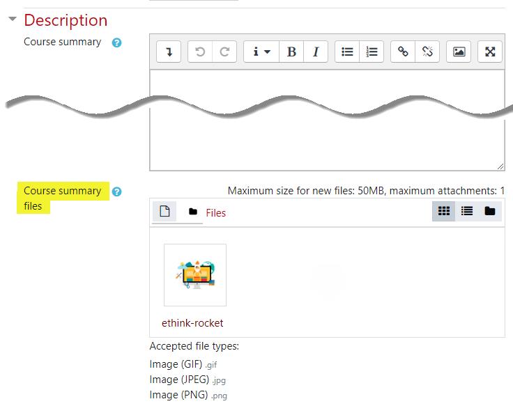 Screenshot of Course summary files area
