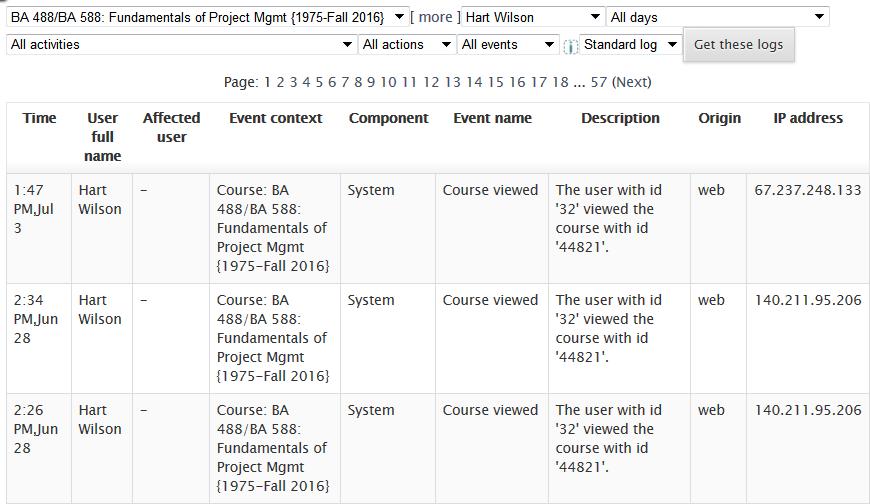 Screenshot of activity log report